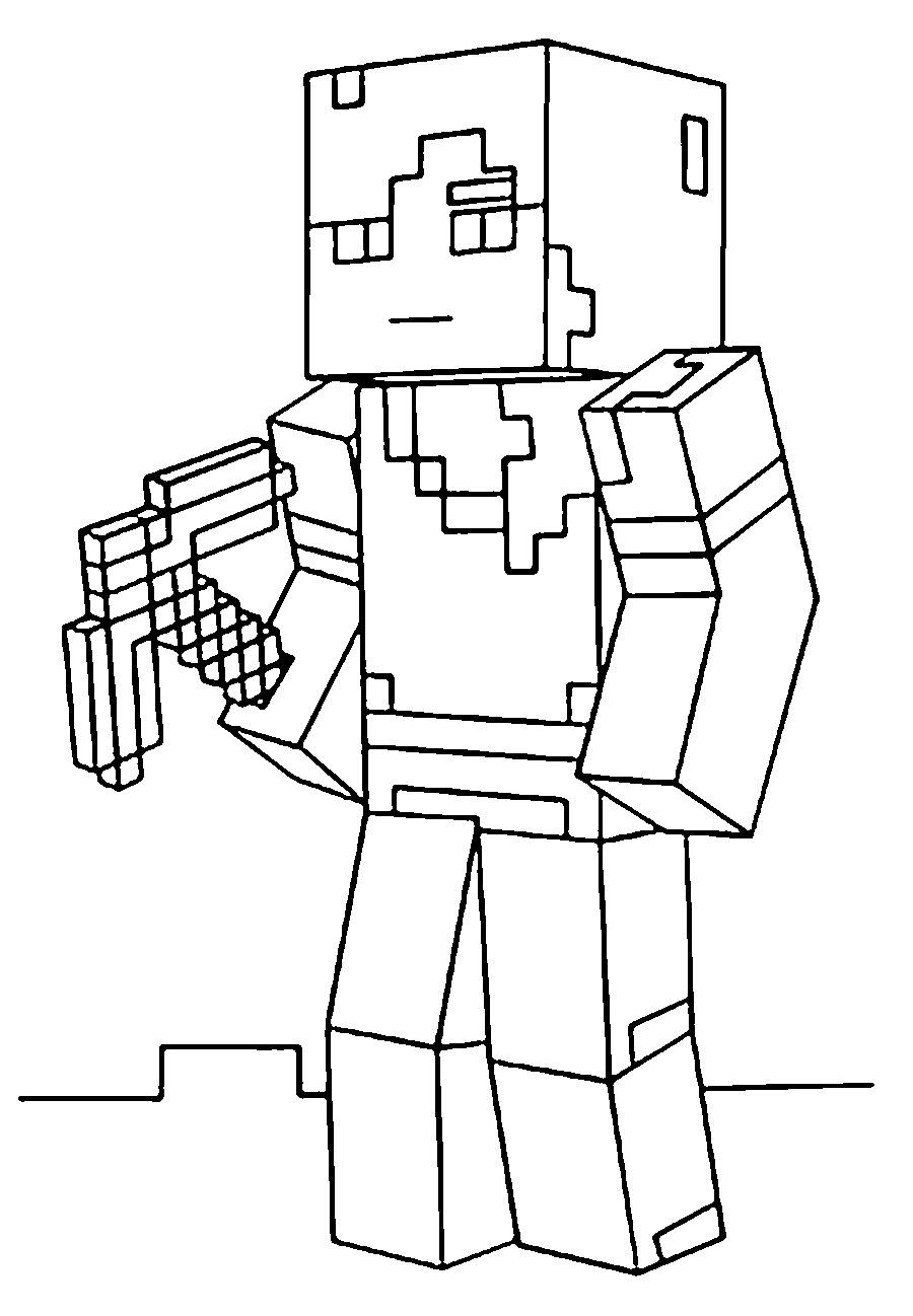 раскраска раскраски из майнкрафта с героями и орудиями