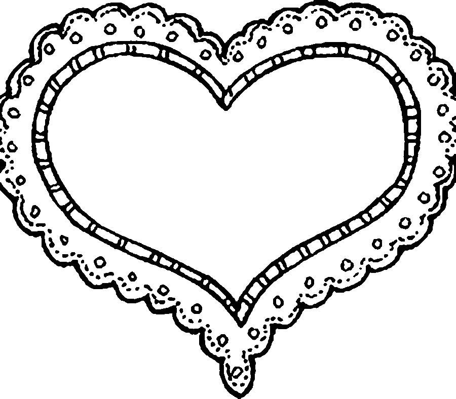 раскраска контуры сердца сердечки контуры сердец и