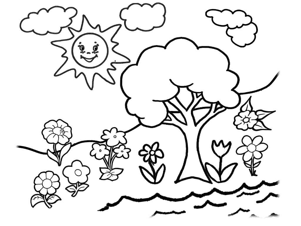 Все Поляна ,дерево и цветы. солнце и облака. летний пейзаж,