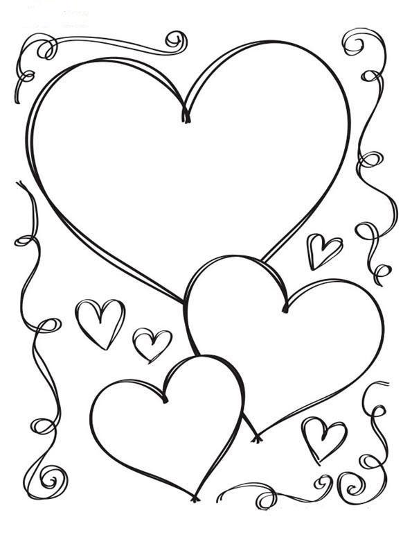 Раскраска валентинка девочка с сердцем