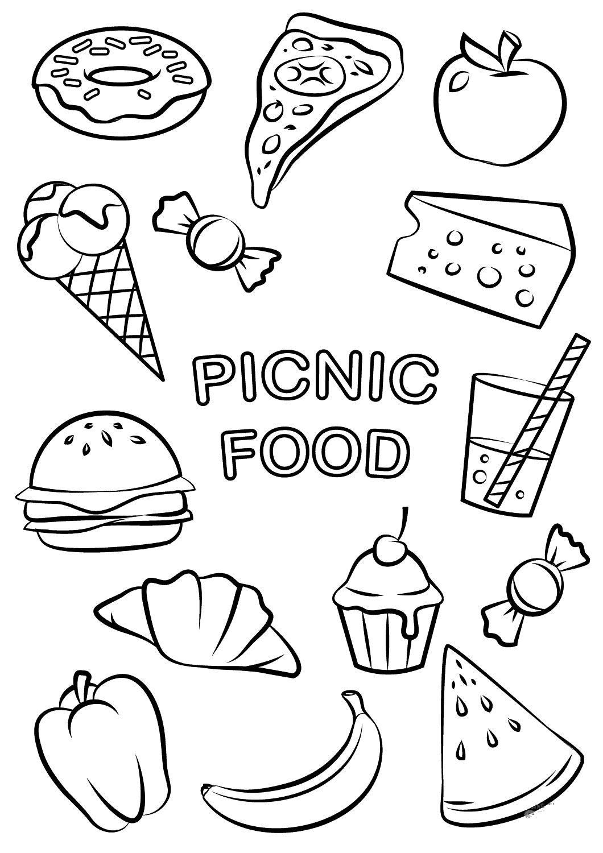 Раскраска Фаст фуд. Еда чтобы перекусить. Вредная еда учим с детьми вредную еду
