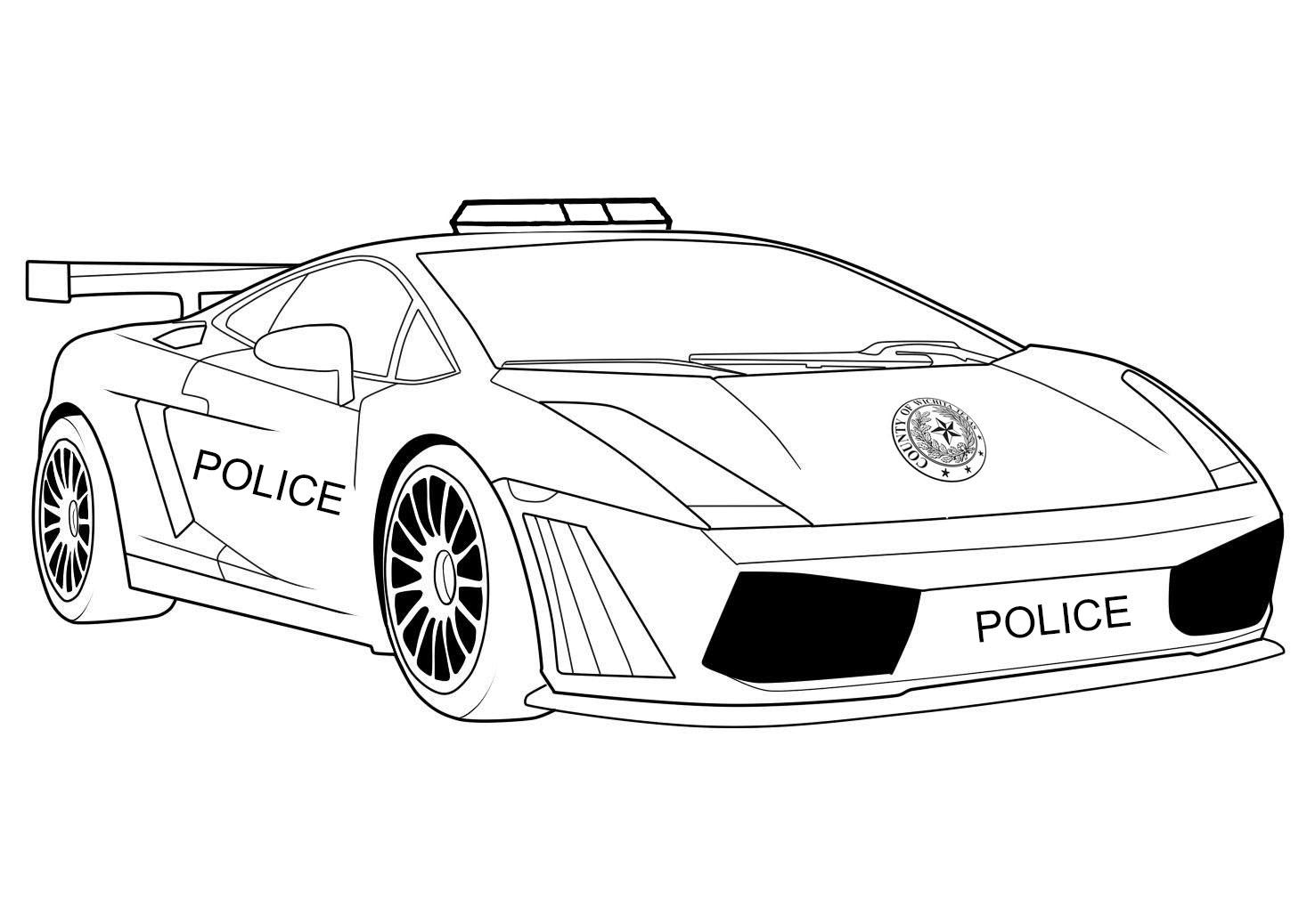 Раскраска Полицейская машина ,шериф,