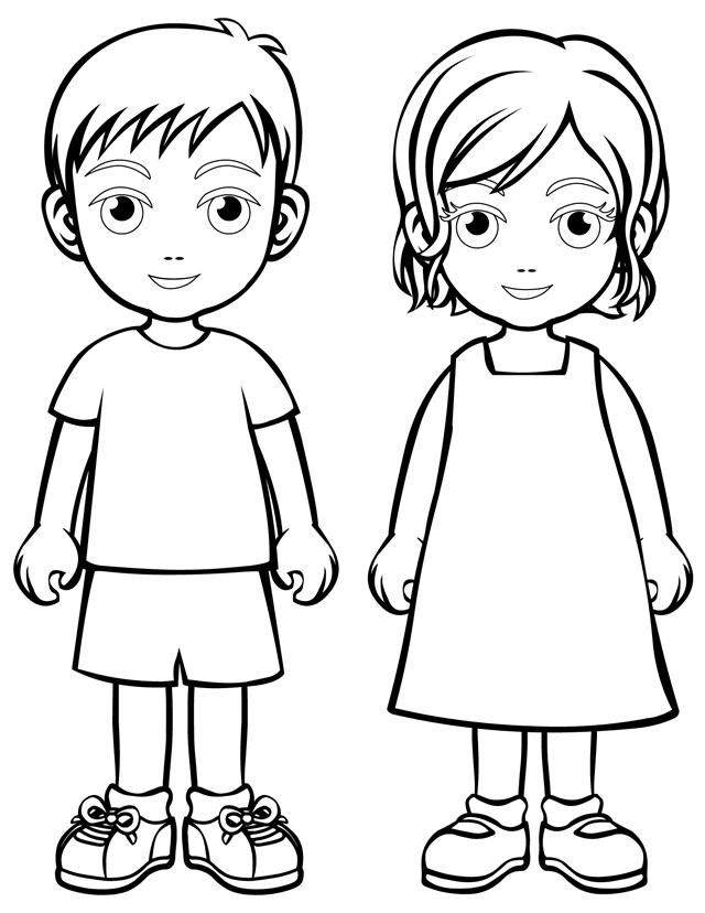 Шаблон девочки для рисования