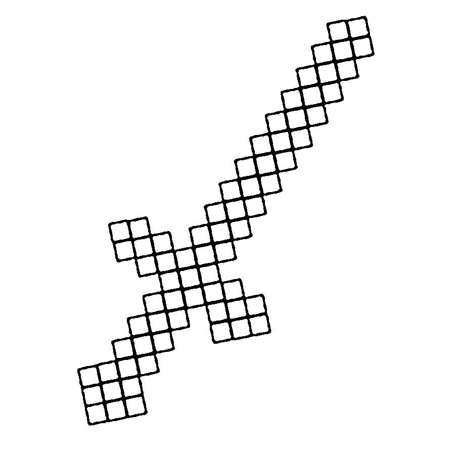 Раскраска Раскраски с мечем из майнкрафта. Раскраски с героями игры майнкрафт стив и его орудия, кирка из игры в майнкрайт