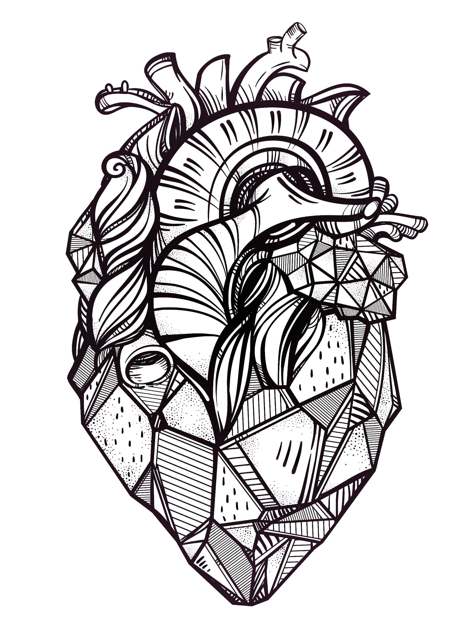 Все Настоящее сердце антистресс ,сложные раскраски сердца,