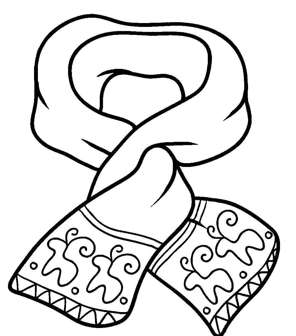Раскраска Зимняя одежда, шарф раскраски в хорошем качестве. скачать и распечатать бесплатно