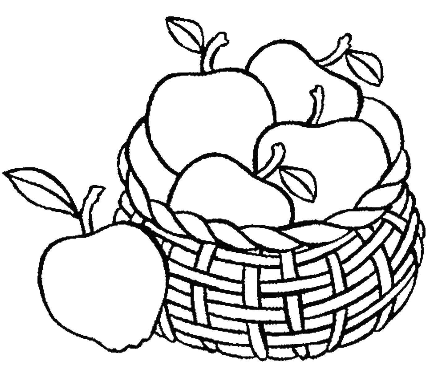 корзина с фруктами картинка для раскрашивания