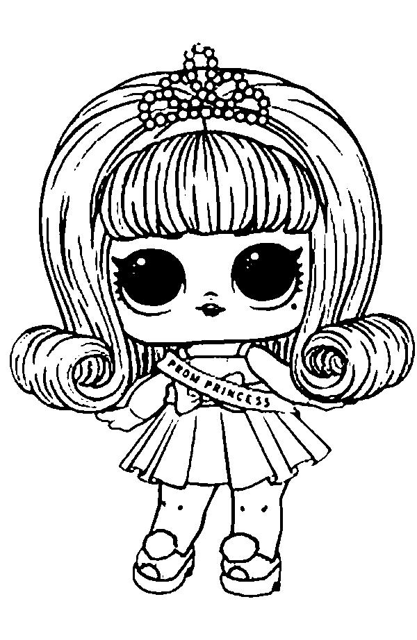 Все Красивые раскраски для девочки с куклой лол  Prom Princess, раскраски лол Красивые раскраски для девочки с куклой лол  Prom Princess, раскраски лол питомцы, кукла лол с лентой принцесса, с диадемой на голове, с волосами ниже плеч завитыми наружу
