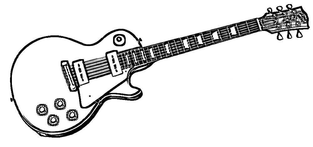Раскраска Раскраски со струнными музыкальными инструментами. Гитара Гитара классическая, рок гитара или двойная гитара на раскрасках с гитарами