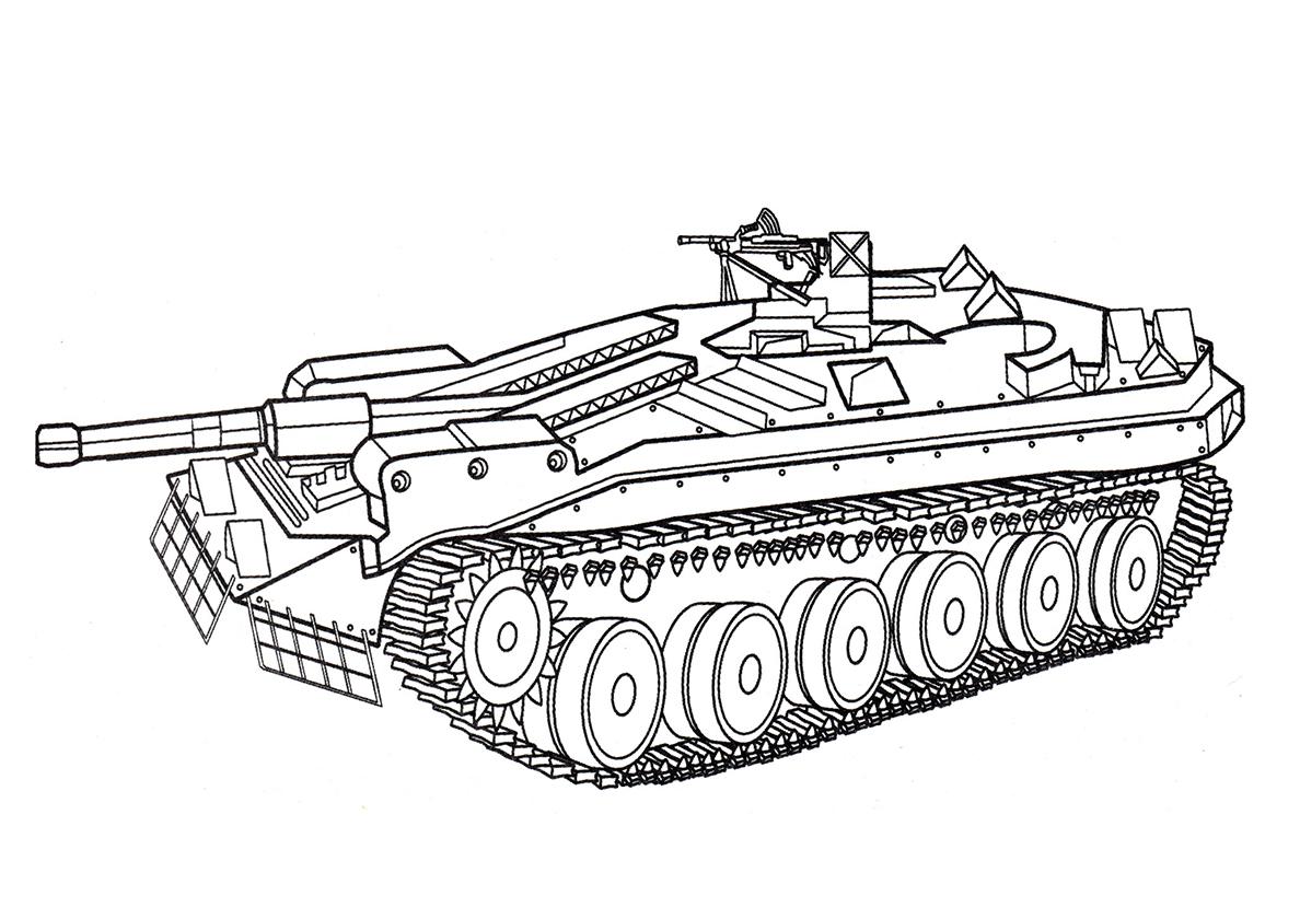 Фото танка для раскраски