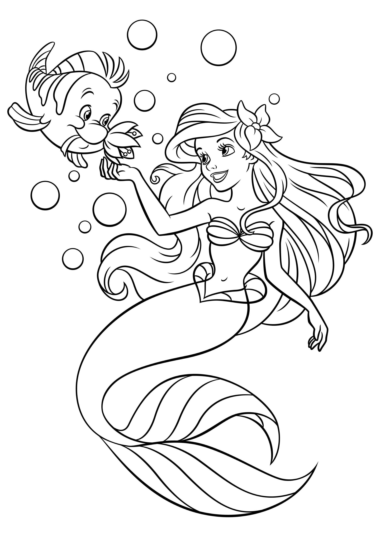 Картинки раскраски принцессы русалочка