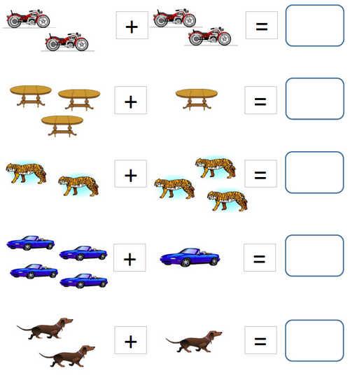Все Задания по математике на сложение. Сосчитай предметы и скажи сколько их в сумме. Примеры в картинках