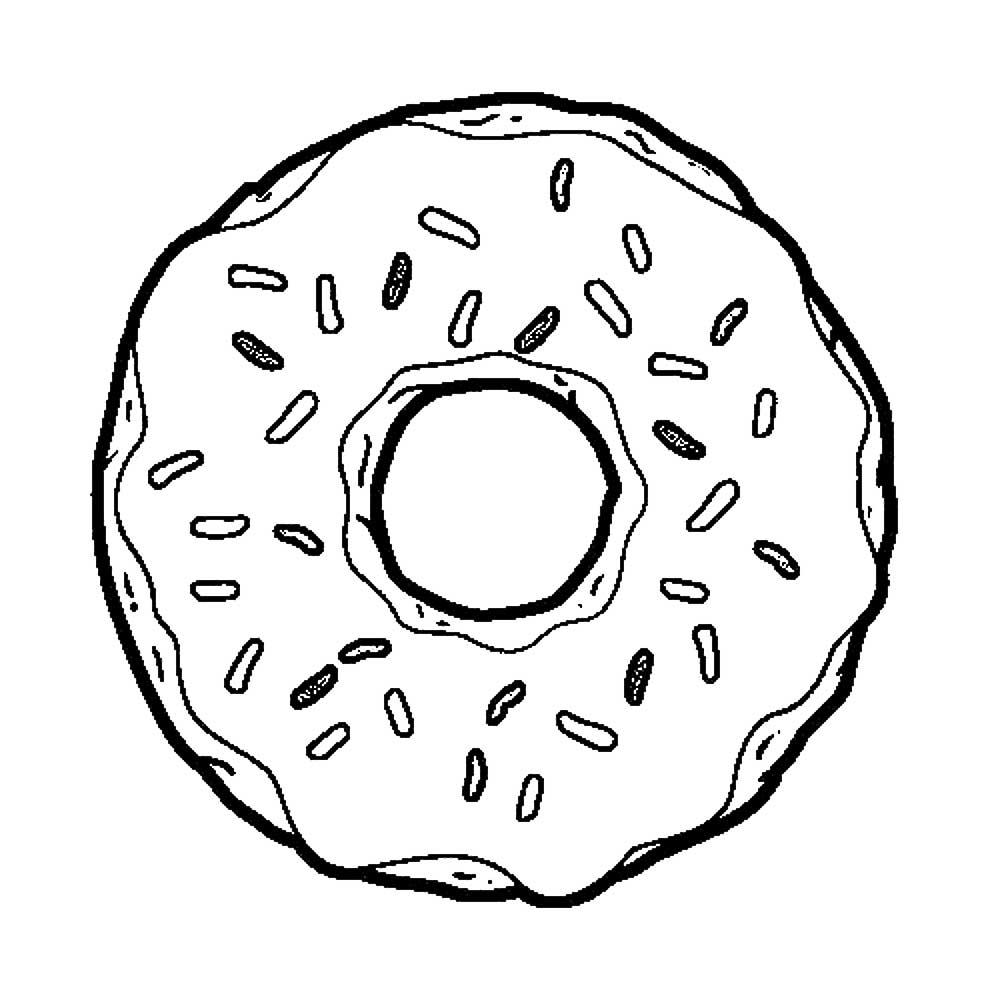 Раскраска Раскраски с пончиками или донатами сладости для детей