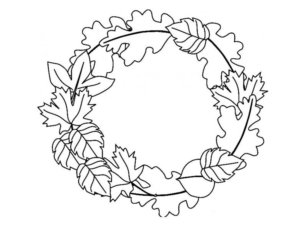 раскраска осенний букет из листьев распечатать вас